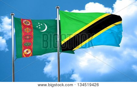 Turkmenistan flag with Tanzania flag, 3D rendering