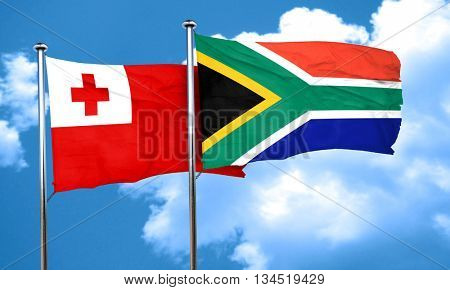 Tonga flag with South Africa flag, 3D rendering