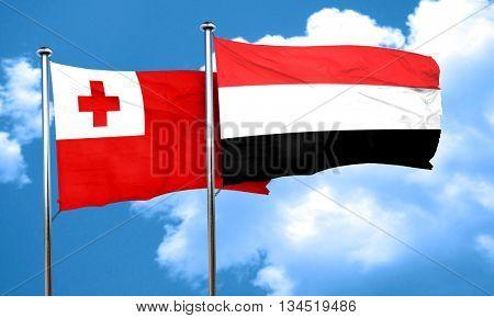 Tonga flag with Yemen flag, 3D rendering