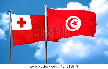 Tonga flag with Tunisia flag, 3D rendering