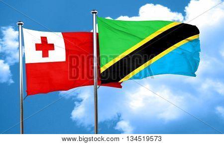 Tonga flag with Tanzania flag, 3D rendering