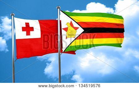 Tonga flag with Zimbabwe flag, 3D rendering