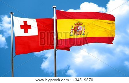 Tonga flag with Spain flag, 3D rendering