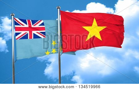 Tuvalu flag with Vietnam flag, 3D rendering