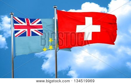 Tuvalu flag with Switzerland flag, 3D rendering
