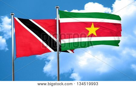 Trinidad and tobago flag with Suriname flag, 3D rendering
