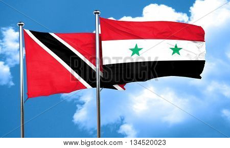 Trinidad and tobago flag with Syria flag, 3D rendering
