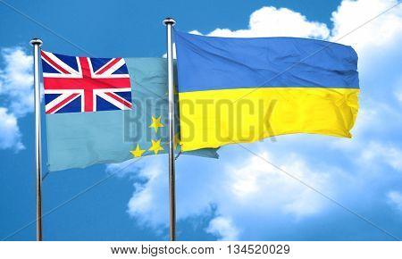 Tuvalu flag with Ukraine flag, 3D rendering