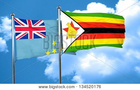 Tuvalu flag with Zimbabwe flag, 3D rendering