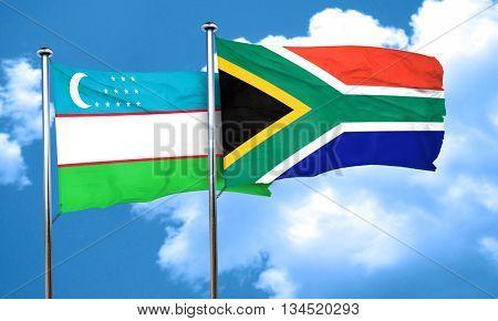 Uzbekistan flag with South Africa flag, 3D rendering