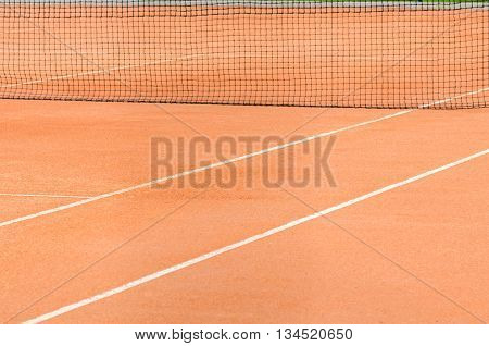 tennis court with lines and net close up