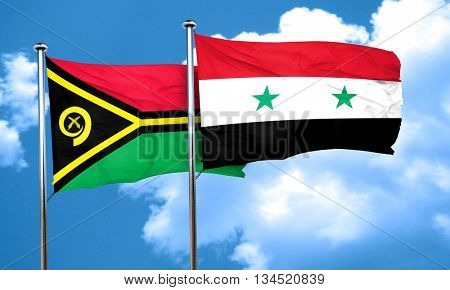 Vanatu flag with Syria flag, 3D rendering