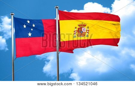 Samoa flag with Spain flag, 3D rendering