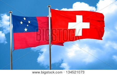 Samoa flag with Switzerland flag, 3D rendering