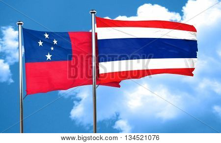 Samoa flag with Thailand flag, 3D rendering