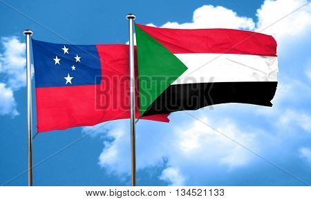 Samoa flag with Sudan flag, 3D rendering