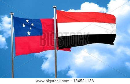 Samoa flag with Yemen flag, 3D rendering