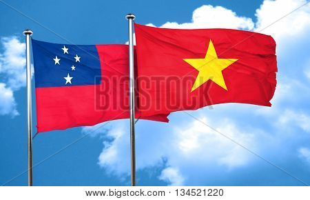 Samoa flag with Vietnam flag, 3D rendering