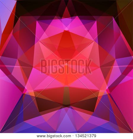 Abstract Background Consisting Of Pink, Purple, Red Triangles, Vector Illustration