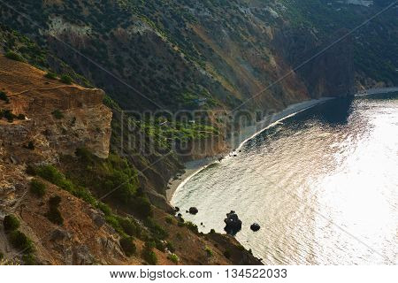 Private jasper beach on Cape Fiolent. Heraclean peninsula on the southwest coast of Crimea. Balaclava district of Sevastopol.