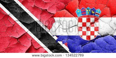 Trinidad and tobago flag with Croatia flag on a grunge cracked w