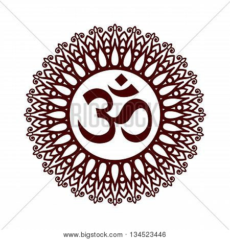 Om Symbol Aum Sign with Decorative Indian Ornament Mandala on White