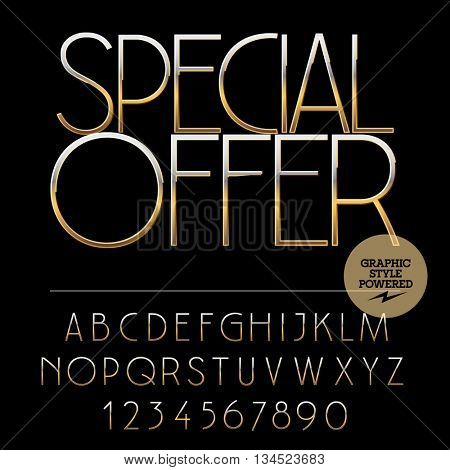 Vector set of alphabet letters, numbers and punctuation symbols. Gold label with text Elite cafe