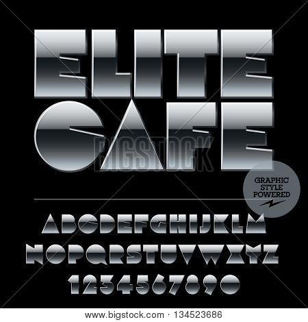 Vector set of alphabet letters, numbers and punctuation symbols. Silver logotype with text Elite cafe