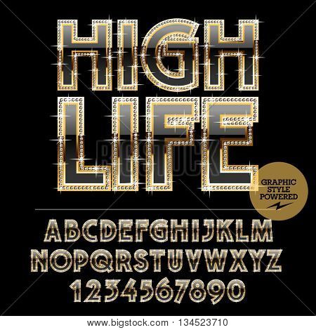 Gold logotype with sparkles for luxury elite club. Vector set of alphabet letters, numbers and punctuation symbols