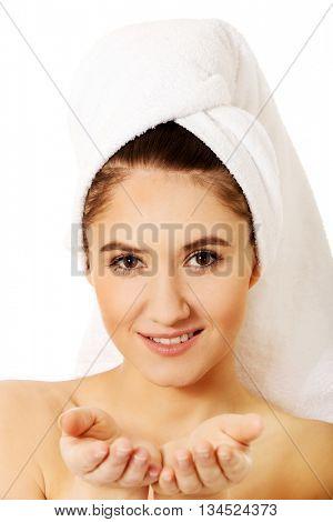 Beauty woman with turban towel