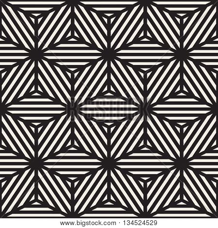 Vector Seamless Black And White Cube Shape Stripe Lines Geometric Pattern. Abstract Geometric Background Design