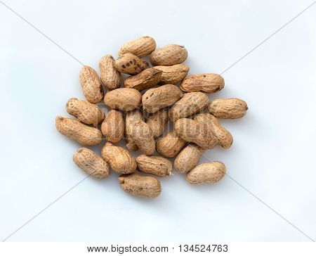 boiled peanuts on white background, The Closeup of boil peanut thai style on white background