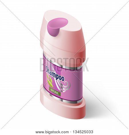 Shampoo Isometric Pink Icon on White Background for Design