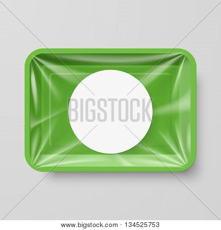 Empty Green Plastic Food Container with Round Label