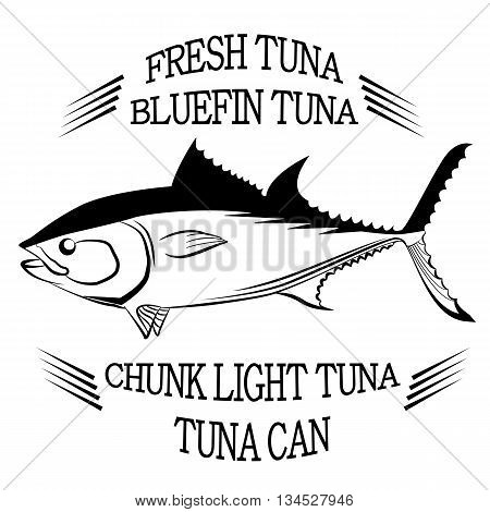 Tuna fish symbol on white background, Vector. Painting beautiful fish with action
