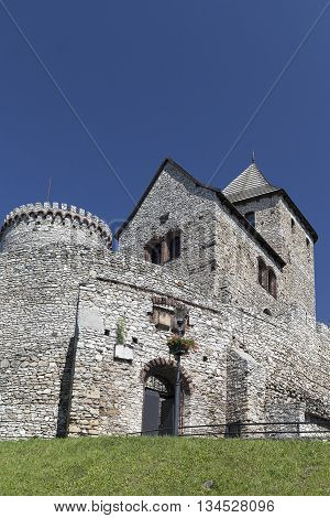 view on Bedzin Castle in Poland on a background of blue sky Upper Silesia