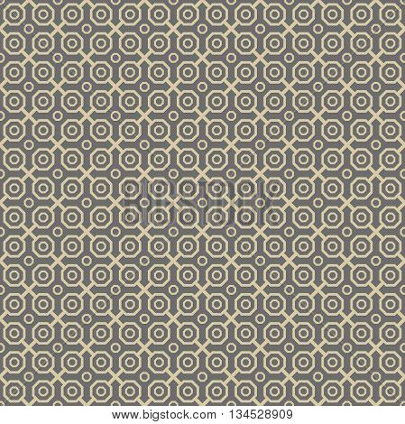 Geometric fine abstract background. Seamless modern pattern. Wallpaper with golden octagons