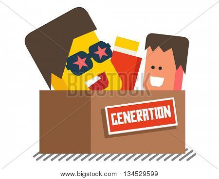 Generation graphic. Flat vector illustration.