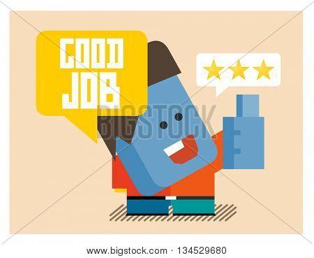 Good job. Flat vector illustration.