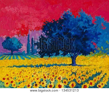 Original oil painting on canvas.Modern art.Field with sunflowers.
