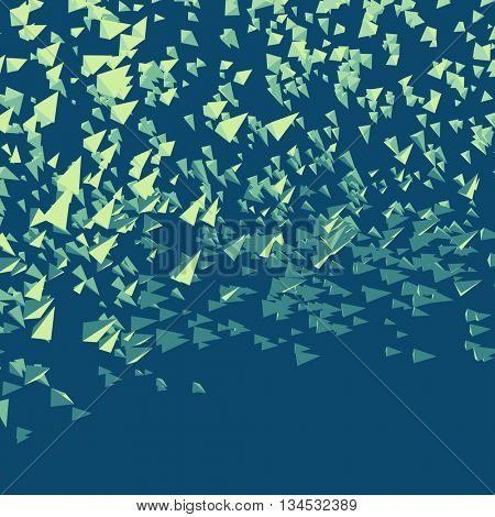 Pyramids in Empty Space. Chaotic Particles. Abstract Dynamic Background. Science and Connection Concept. Futuristic Design. Vector Illustration.