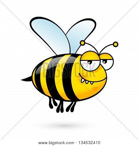 Illustration of a Friendly Cute Bee with Expression on White