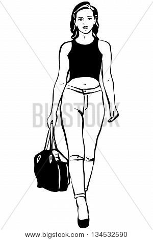 black and white vector sketch of a beautiful young brunette woman with a bag in his hand