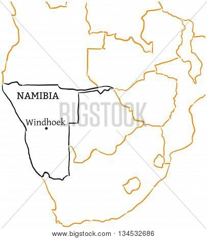 Namibia country with its capital Windhoek in Africa hand-drawn sketch map isolated on white