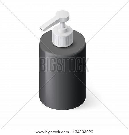 Isometric Black Bottle with Liquid Soap without Label
