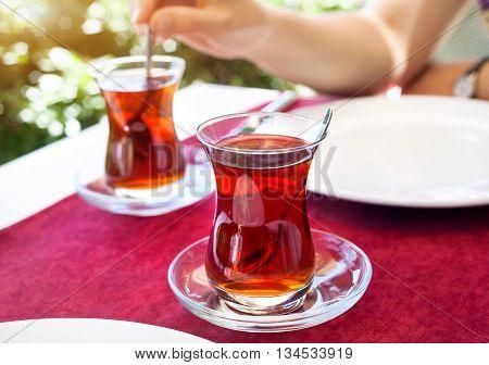 Turkish Tea In Restaurant