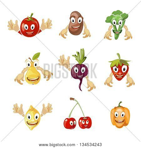 Cute cartoon vegetables and fruit vector collection in comic style. Fruit comic characters and vegetable cartoon, sweet fruit and vegetable with face illustration