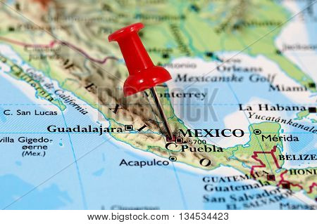 Map with pin point of Mexico City in Mexico