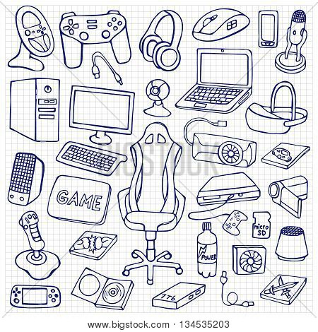 Hand drawn gamer set with doodle elements on squared background. Gamer gadgets collection