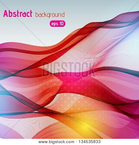 Colorful Smooth Light Lines Background. Red, Brown, Yellow Colors. Vector Illustration